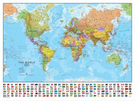 Large World Wall Map Political with flags (Pinboard & wood frame - White)