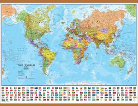 Large Political World Wall Map with flags (Wooden hanging bars)