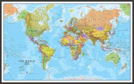 Large Political World Wall Map (Wood Frame - Black)