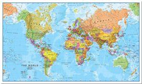 Medium World Wall Map Political (Pinboard)
