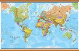 Huge World Wall Map Political (Wooden hanging bars)