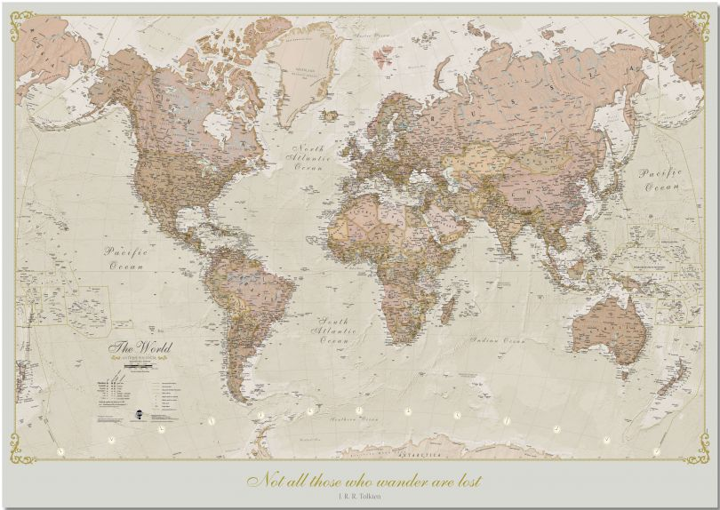 Large Personalized Antique World Map (Pinboard)