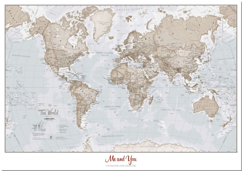 Large Personalized World Is Art - Wall Map Neutral (Pinboard)