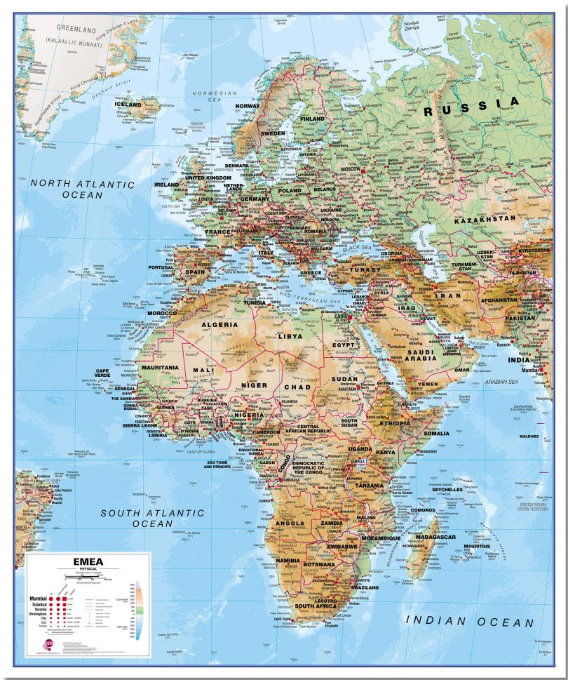 Europe Middle East Africa (EMEA) Physical Map (Pinboard)