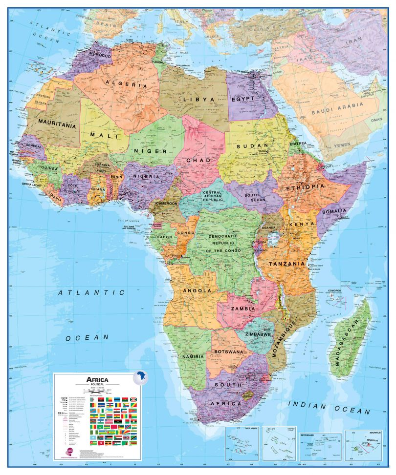 Large Africa Wall Map Political (Laminated)