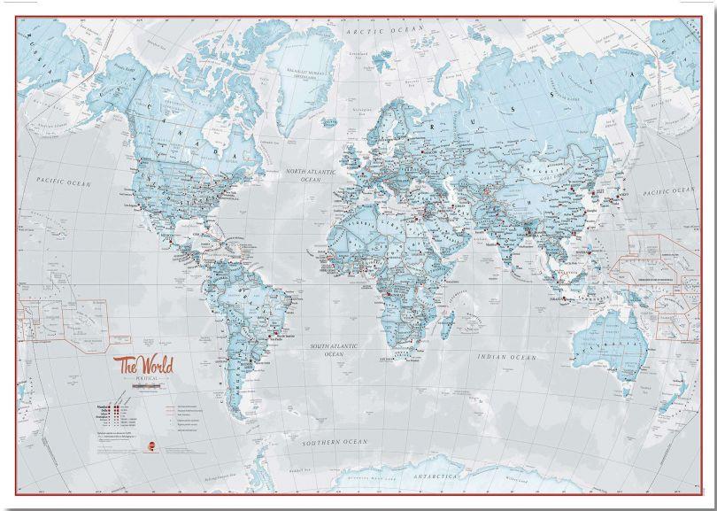 Large The World Is Art - Wall Map Aqua (Pinboard)