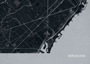 Barcelona City Street Map Print Charcoal