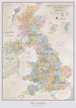Personalized UK Classic Wall Map