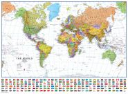 World Wall Map Political with flags White Ocean