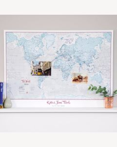 Personalized World Is Art - Wall Map Aqua