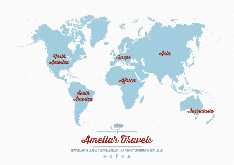 Personalized Travel Map of the World - Aqua