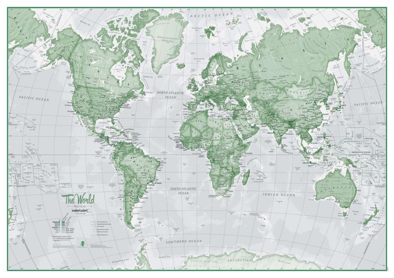 Large The World Is Art - Wall Map Green (Paper)