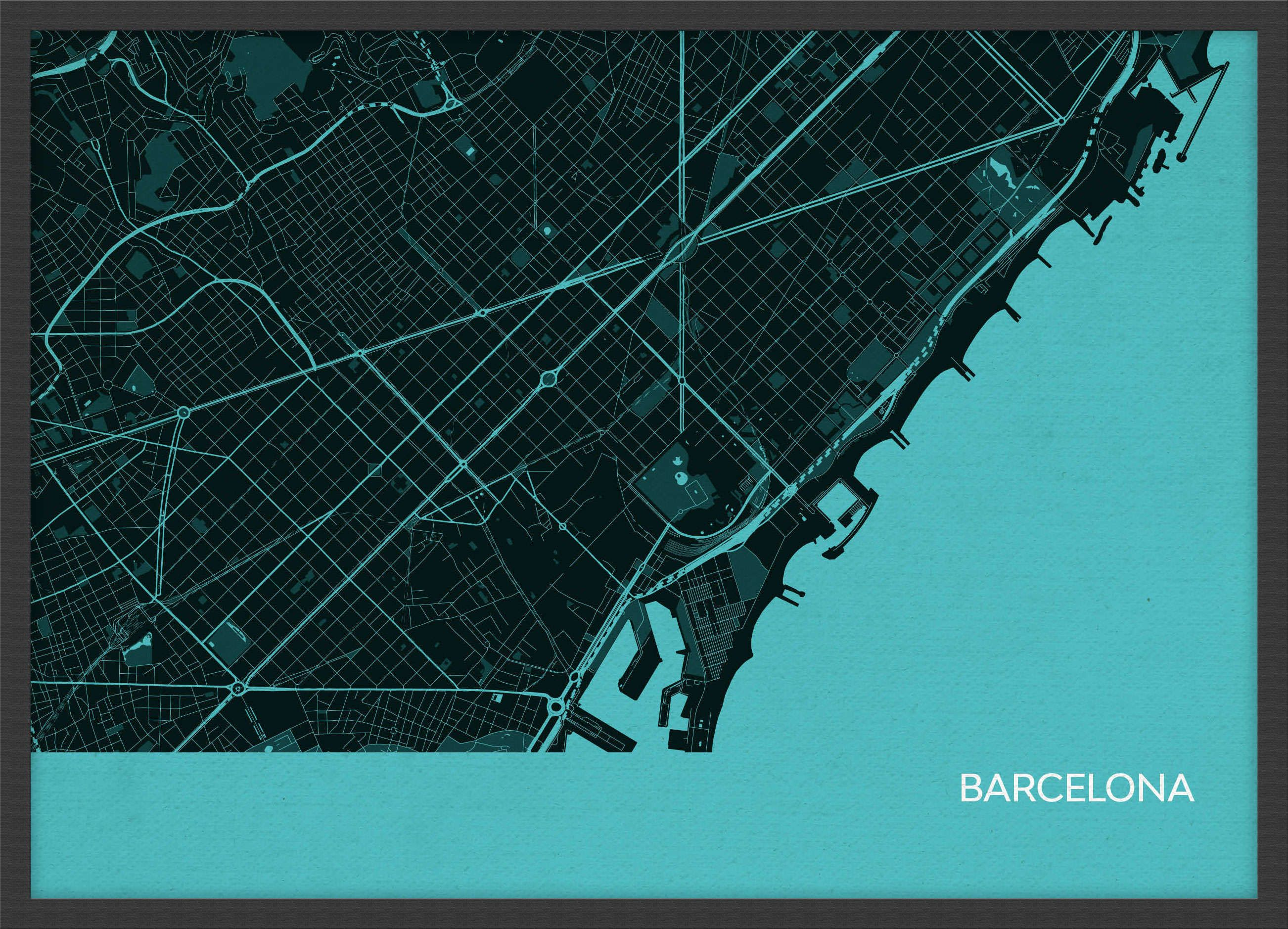 Arch B Barcelona City Street Map Print Turquoise Wood Frame Black