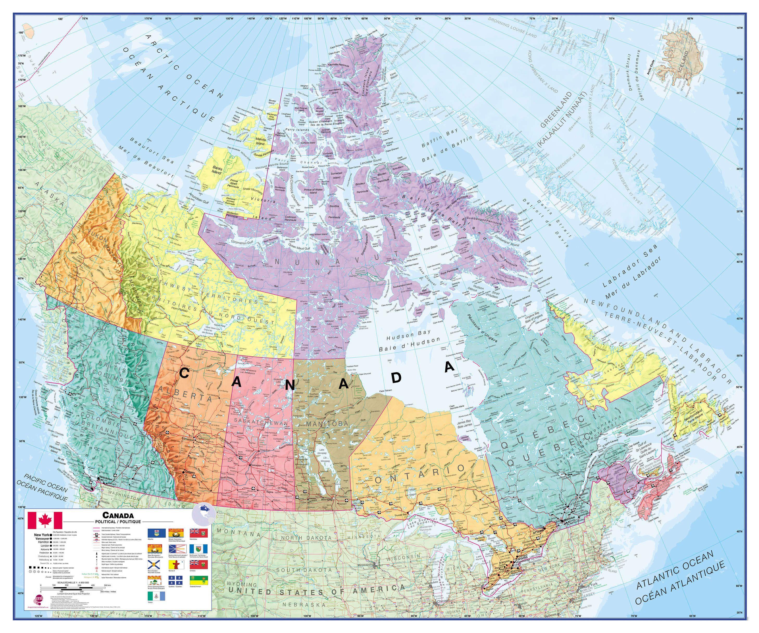Wall Map Canada Political Canada Wall Map