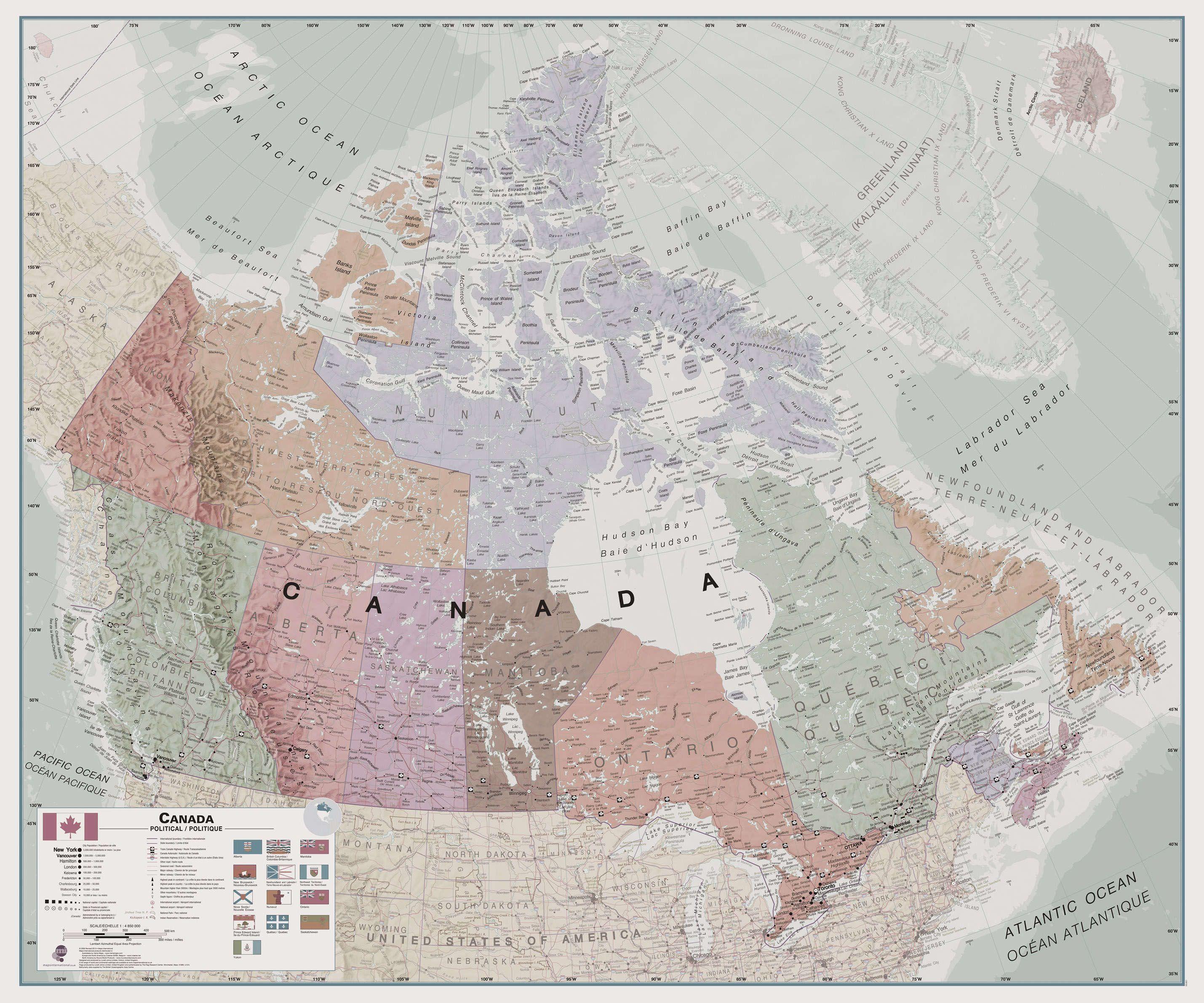 Wall Map Canada Executive Canada Wall Map