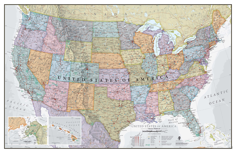 Wall Map Of Usa Classic USA Wall Map