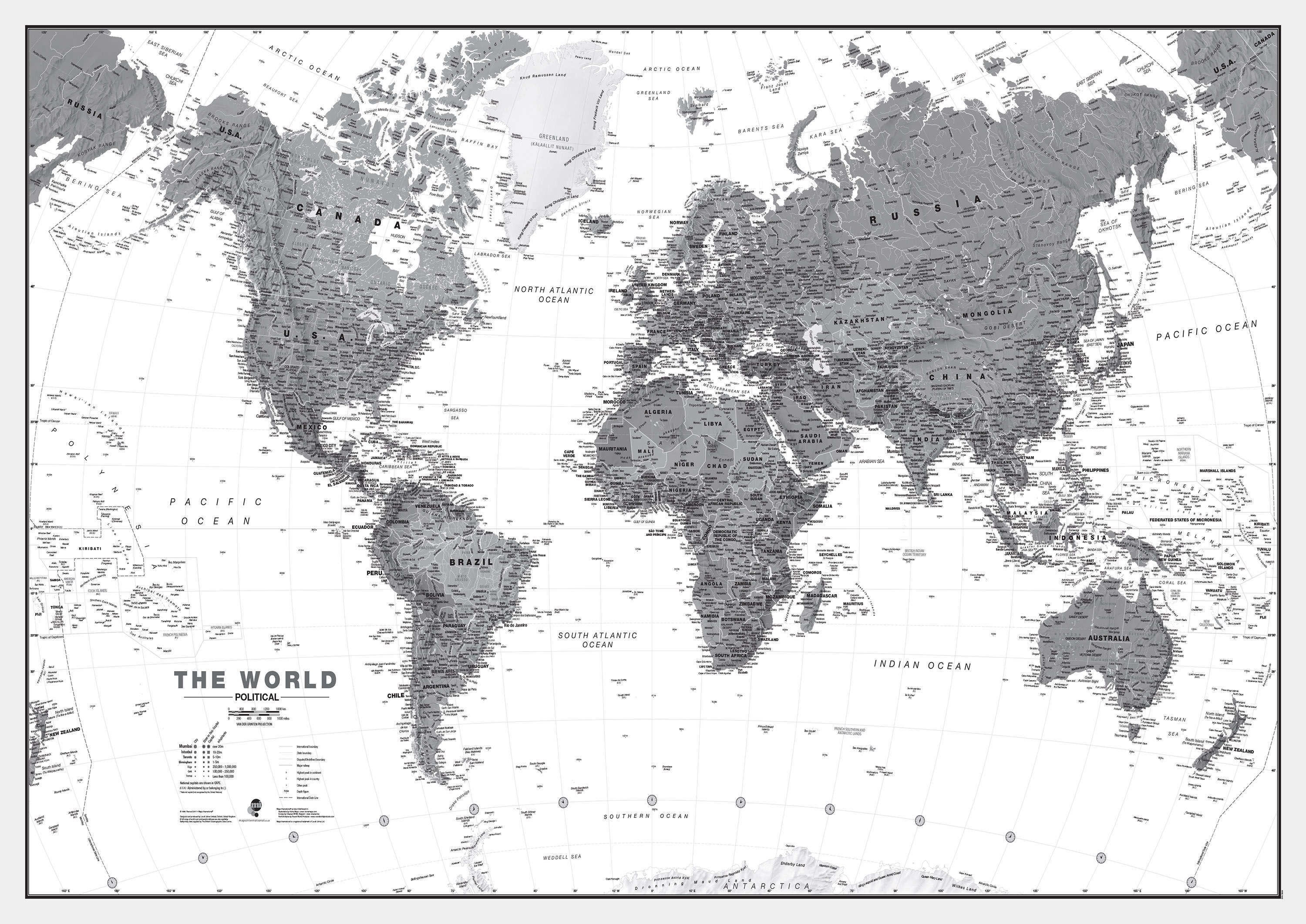 World Political Map Black And White