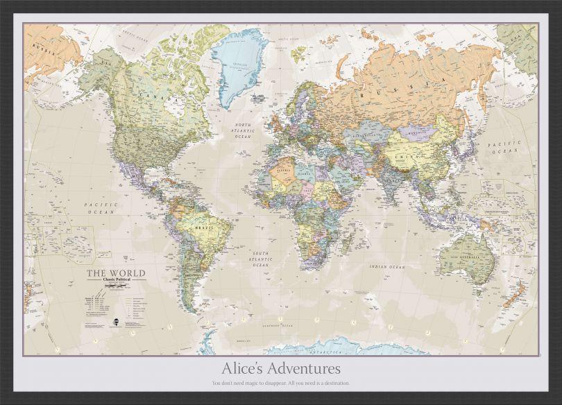 Medium Personalized Classic World Map (Pinboard & wood frame - Black)