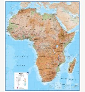 Large Africa Wall Map Physical (Paper)