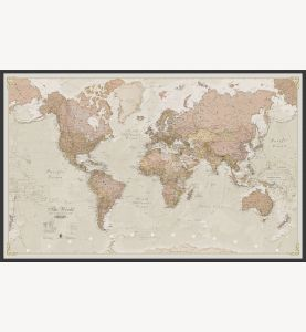 Large Antique World Map (Wood Frame - Black)