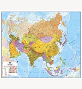 Large Asia Wall Map Political (Laminated)