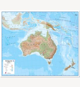 Large Australasia Wall Map Physical (Pinboard)