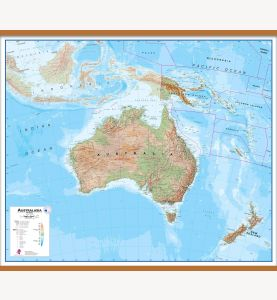 Large Australasia Wall Map Physical (Wooden hanging bars)