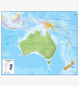 Australasia Wall Map Political