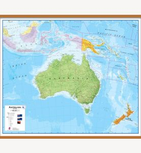 Large Australasia Wall Map Political (Wooden hanging bars)