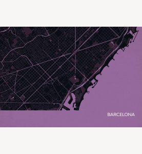 Barcelona City Street Map Print Mauve