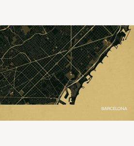 Barcelona City Street Map Print Straw