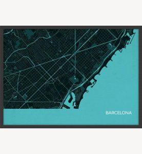 A3 Barcelona City Street Map Print Turquoise (Wood Frame - Black)