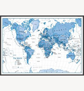 Large Children's Art Map of the World Blue (Wood Frame - Black)