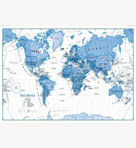 Large Children's Art Map of the World Blue (Paper)