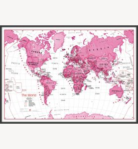 Large Children's Art Map of the World Pink (Wood Frame - Black)