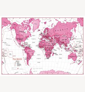 Large Children's Art Map of the World Pink (Laminated)