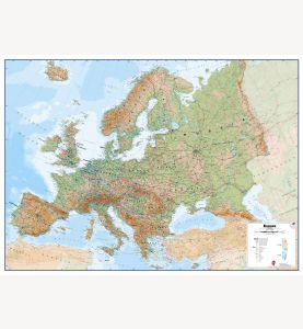 Large Europe Wall Map Physical (Paper)