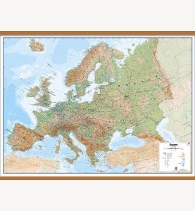 Large Europe Wall Map Physical (Wooden hanging bars)