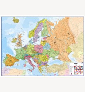 Large Europe Wall Map Political (Laminated)