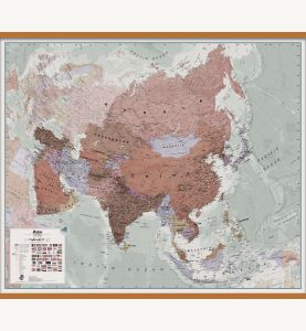 Large Executive Asia Wall Map Political (Wooden hanging bars)