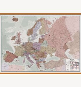 Large Executive Europe Wall Map Political (Wooden hanging bars)