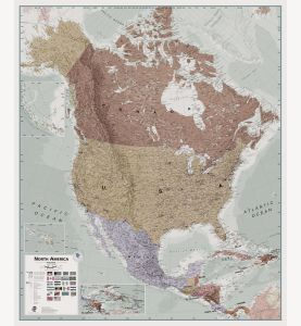 Executive North America Wall Map Political