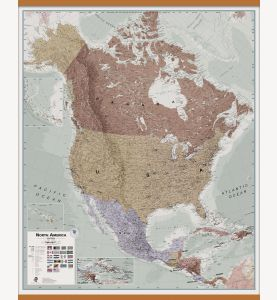 Large Executive North America Wall Map Political (Wooden hanging bars)