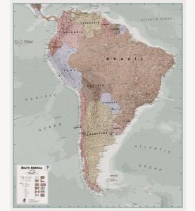 Executive South America Wall Map Political