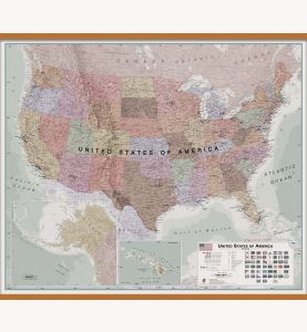 Large Executive USA Wall Map (Wooden hanging bars)