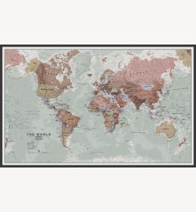 Large Executive World Wall Map Political (Wood Frame - Black)