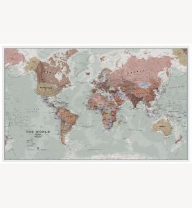 Large Executive World Wall Map Political (Wood Frame - White)