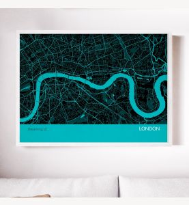 London City Street Map Print Turquoise