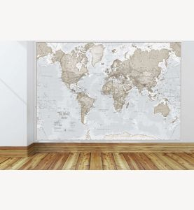 Giant World Map Mural - Neutral (Mural)