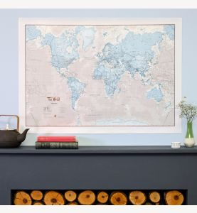 Medium The World Is Art - Wall Map Aqua (Silk Art Paper)